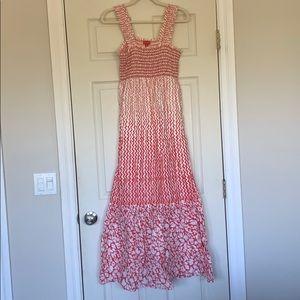 Pretty maxi dress. Pink/salmon and white colored.